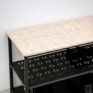 Банкетка для обуви «Принт», 3 полки, цвет чёрный