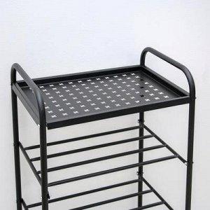 Этажерка-подставка для обуви «Классика», 5 полок, цвет чёрный