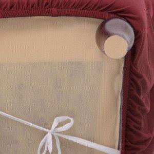 Чехол для мягкой мебели ,2-х местный диван,наволочка 40*40 см в ПОДАРОК,бордовый