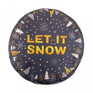 """Чехол для пуфика  """"Let it snow"""", d=60 см, рогожка, 100% п/э"""