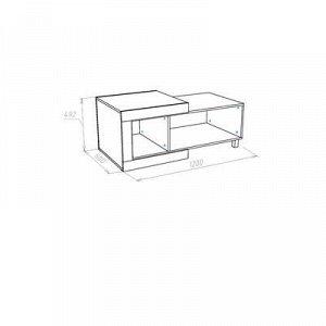 Стол журнальный Генезис, 1200х600х492, Дуб серый крафт/Белый глянец