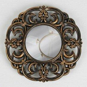 Зеркало настенное «Стиль», d зеркальной поверхности 13 см, цвет «состаренное золото»