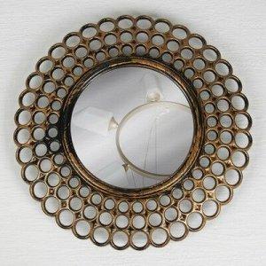 Зеркало настенное «Винтаж», d зеркальной поверхности 13 см, цвет «состаренное золото»