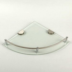 Полка угловая для ванной комнаты, 24?24?4 см, металл, стекло