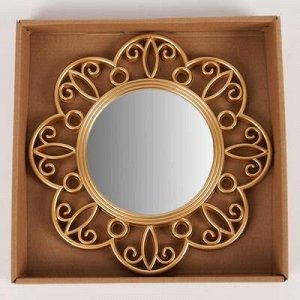 Зеркало настенное «Завитульки», d зеркальной поверхности 13 см, цвет золотистый