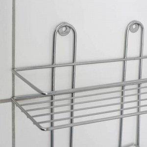 Полка прямоугольная с мыльницей и крючком, 1 ярус, цвет хром