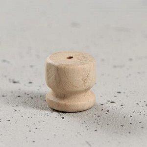 """Ручка мебельная кнопка """"Ретро"""", h-24 мм, d-22 мм, массив бука"""