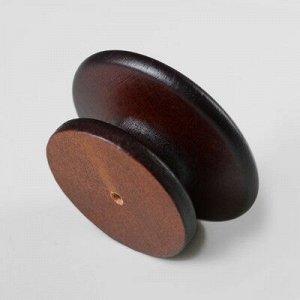 """Ручка мебельная кнопка """"Плоская"""", крашеная, цвет темный орех, d-57, L-35 мм"""