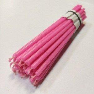 Восковая свеча розовая 1 час 5 штук
