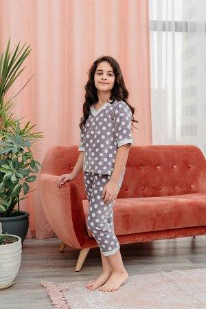 Пижама Горошек, цвет какао, размеры 32-40