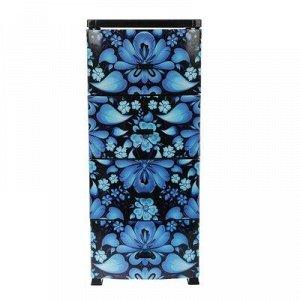 Комод 4-x секционный Росспласт «Декор. Русский узор», цвет чёрный