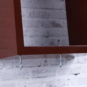 Ключница-полка Домик средняя, 3 крючка, коричневая