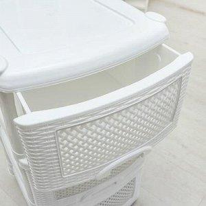 Комод 3-x секционный «Плетёнка», цвет белый