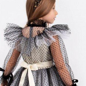 Платье Соль&Перец для девочки/Цвет: бежевый-черный