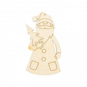 Деревянная заготовка Дед Мороз с елочкой 9*5см