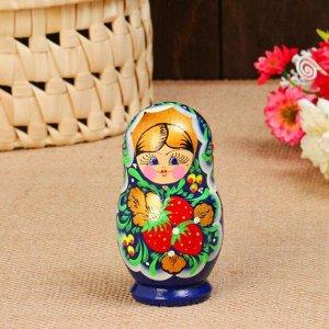 """Матрешка """"Синее платье"""", 5-кукольная, 10 см, ручная роспись"""