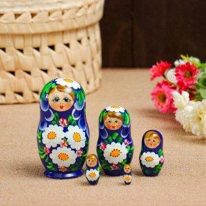 Матрёшка «Ромашки», синий фон, 5 кукольная, 10 см