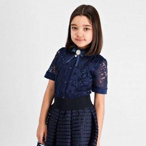 Блузка Соль&Перец короткий рукав с брошью темно синий