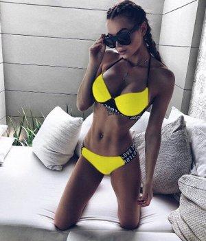 Женский купальник, желтый, с надписью