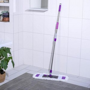 Швабра плоская Доляна, телескопическая стальная ручка 80-128 см, насадка из микрофибры 55?14 см