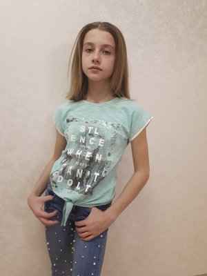 Футболка Артикул: DOM8864; Пол: Девочка; Бренд: DOMINIK; Основной цвет: Светло-зеленый Размеры: 9 лет, 10 лет, 11 лет, 12 лет; Рост: 134, 140, 146, 152; Товарная группа: футболка; Материал: трикотаж;
