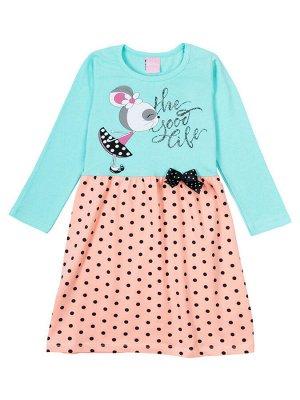"""Платья для девочек """"Good mouse green"""", цвет Зелено-коралловый"""