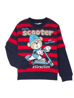 """Толстовки для мальчиков """"Playing scooter"""", цвет Темно-синий-красный"""