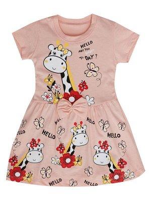 """Платья для девочек """"Giraffe coral"""", цвет Коралловый"""