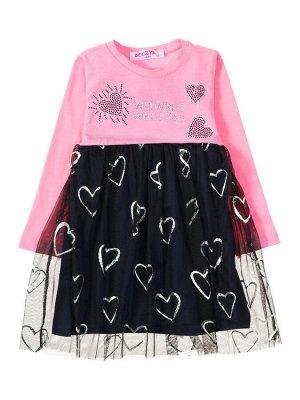 """Платья для девочек """"Heart rose"""", цвет Розовый темно-синий"""