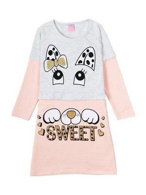 """Платья для девочек """"Sweet grey-coral"""", цвет Серо-коралловый"""