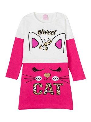 """Платья для девочек """"Cat white-pink"""", цвет Белый-розовый"""