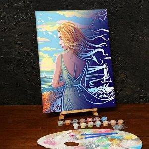 Лунная роспись по номерам без подрамника «Девушка у моря», 30 х 40 см