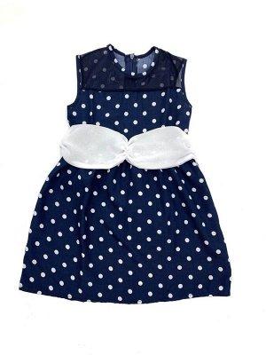 Платье Ткань: .  Легкое шелковое платье темно-синего цвета в белый горошек, украшено сеткой и накладным поясом. Застежка молния по спинке. Два варианта : с белой и с темно-синей сеткой.