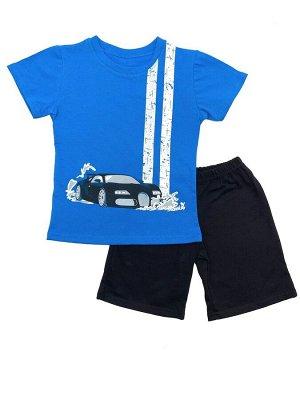 Комплект Кулирка 100% хлопокЛетний комплект из футболки и шорт. На шортах сзади накладной карман.