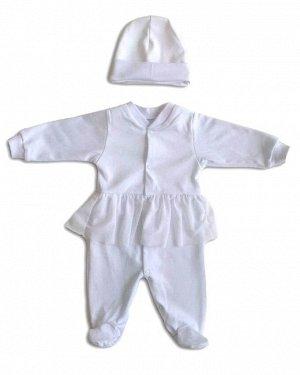 Комплект Интерлок 100% хлопокБелый интерлочный комбинезон с шапочкой , украшенный юбкой из сетки