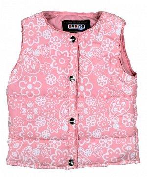 Жилет Ткань: . 100% ПЭ Страна Узбекистан Цвет розовый Размеры 86, 92, 98, 104 Внутри синтепон Состав 100% п/э