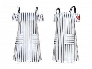 Платье Ткань: Кулирка. 100% хлопок Кулирное полотно: 100% х/б. Платье-прямой силуэт,на лямках,короткий двойной рукав,открытое плечо.Вышивка-паетки на рукавах,печать на лямках.Два накладных кармана.