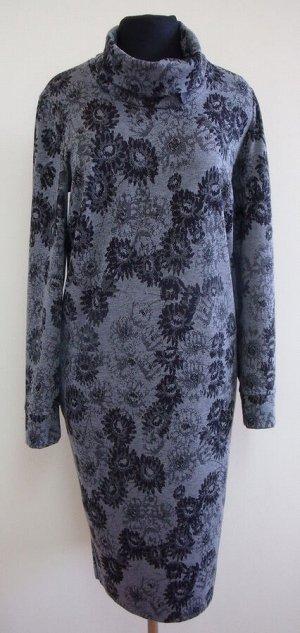 """Платье """"Серые цветы"""" (воротничок-стоечка с ремешком) модель 767 серые розочки"""