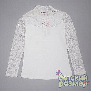 Блузка 95% хлопок, 5% эластан Нарядная блузка к школе для девочек-подростков:  - выполнена из легкого и приятного к телу трикотажа, рукава и верх изделия из кружевного гипюра  - ворот-стойка украшен д