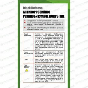 Покрытие антикоррозийное Rinkai Black Defense, резинобитумное, аэрозоль 650мл, арт. RC1102