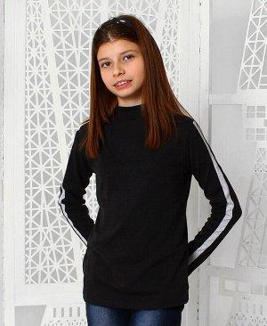 Серая водолазка для девочки с лампасами Цвет: тёмно-серый