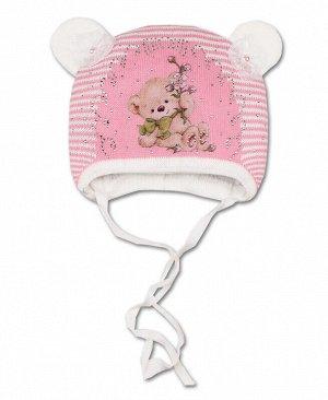 Шапка для девочки на синтепоне Цвет: св.розовый