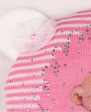 Шапка для девочки на синтепоне Цвет: темно-розовый