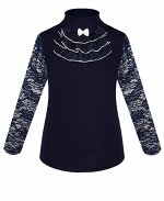 Синий школьный джемпер (блузка) для девочки Цвет: синий