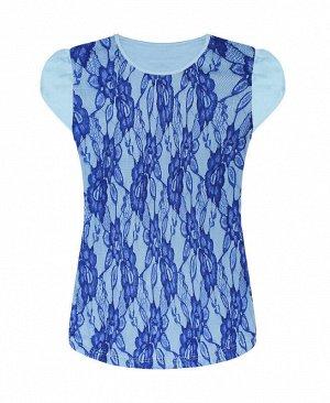 Футболка (блузка) для девочки из трикотажа и ажурного гипюра Цвет: синий