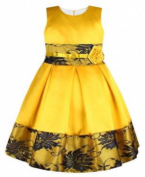 Нарядное жёлтое платье с гипюром Цвет: жёлтый