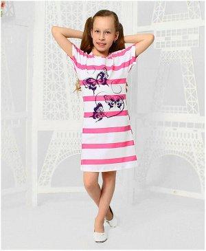 Платье для девочки в полоску Цвет: розовый