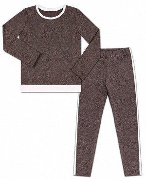 Серый костюм с лампасами для девочки Цвет: серый меланж