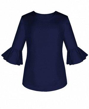Джемпер (блузка) для девочки с воланами Цвет: тёмно-синий