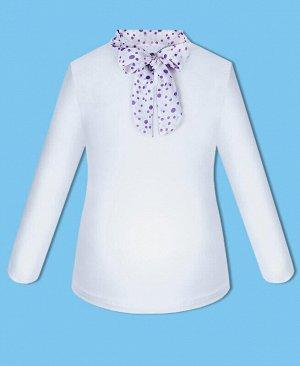 Белый школьный джемпер (блузка) для девочки с галстуком Цвет: белый